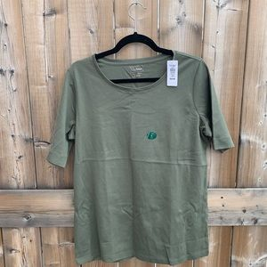 NWT L.L Bean Olive Green Cotton T-Shirt size Large